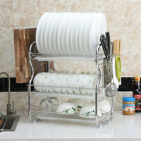 Large Capacity Dish Rack 3 Tier w/ Utensil Holder Drainer Drying Kitchen Storage