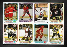 1981-82 O-Pee-Chee Uncut Panel of 8 Cards Guy Lafleur, Kent Nilsson, Ron Wilson