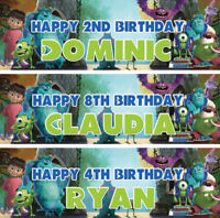 2 x personalised birthday banner Monsters Inc children nursery kid party poster