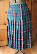 Vintage Aljean Green & Blue Plaid Tartan Pleated Blanket Wrap Skirt