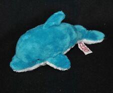 Peluche doudou poisson dauphin NICI bleu blanc yeux noirs 20 cm TTBE
