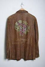 Ed Hardy Men's Brown 100% Leather Blazer Jacket Size L
