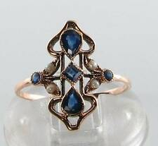 DIVINE 9CT 9K  ROSE GOLD BLUE SAPPHIRE & PEARL ART DECO INS RING FREE RESIZE