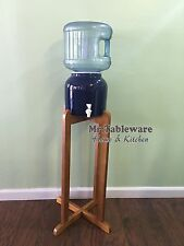 Porcelain Ceramic Water Dispenser Cobalt Blue and Dark Natural Wood Floor Stand