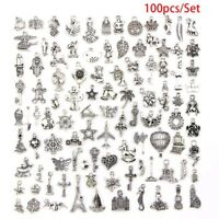 Wholesale 100pcs Bulk Lots Tibetan Silver Mix Charm Pendants Craft Jewelry DIY