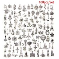 100pc Bulk Lots Tibetan Silver Mix Pendants Charm Craft Jewelry Finding Making0c