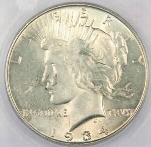 1934 1934-P Peace Silver Dollar ICG MS63