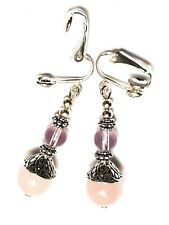 Long Silver Rose Quartz & Glass Bead Clip-On Earrings Drop Dangle Gemstone