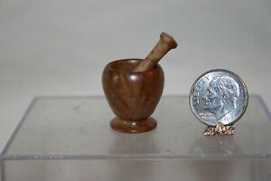 Miniature Dollhouse Brian Hart Hand Turned Almond Burl Wood Mortar & Pestle NR