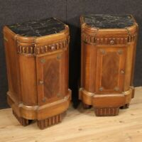 Pair night stands furniture bedside tables Art Deco wood marble antique style