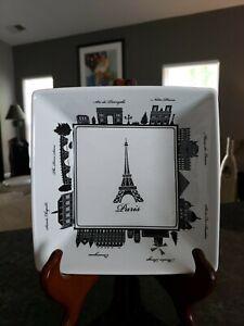 """222 Fifth City Block Paris France Square Appetizer  Serving Plate Bowl 7 3/8"""""""