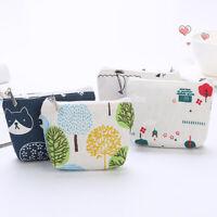 Kawaii Cat Leaf Tower Canvas Coin Purse Card Keys Holder Zipper Mini Wallet Pr