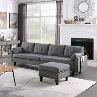 Sectional Sofa/Couch 4+1 Seaters Upholstered Fabric with Storage Ottoman Pillows