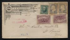 1894 Registered Corner Ad Cover B.M. Hall Swift TX to St. Louis 16c Total Rate