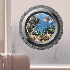 Cartoon 3D Ocean Sea Fish Wall Sticker View Window Decals Kids Room Decor Mural
