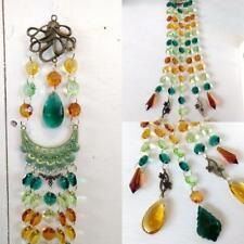Crystal Suncatcher Wind Chime w/ Octopus Teal Peach Amber Chandelier Crystals