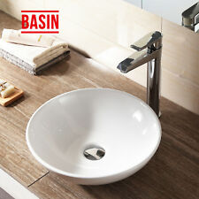 Modern White Ceramic Counter Top Wash Basin Round Bowl Sink Bathroom Cloakroom