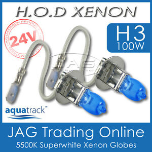 24V HOD XENON H3 100W 5500K SUPERWHITE HEADLIGHT TRUCK/BUS/RV WHITE GLOBES/BULBS