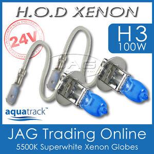 24V HOD XENON H3 100W 5500K SUPERWHITE HEADLIGHT TRUCK/BUS/RV WHITE BULBS/GLOBES