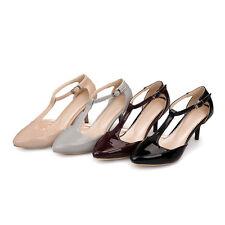 Ladies Synthetic Leather Shoes Slim Med Heels T-Strap Pumps Sandals AU Size s377