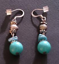 Genuine Howlite Turquoise Bead Drop Earrings