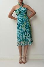 DIANE VON FURSTENBERG Green Blue Printed Silk Halter Neck William Dress US4/AU8