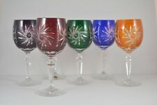 "Crystal glass Wine glasses set of 6 from Poland Hand Made ""HANDMADE"" mix color"