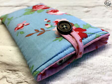 iPhone 4 5 6 7 8 Padded Case / Sleeve Made in Cath Kidston Blue Rosali Fabric