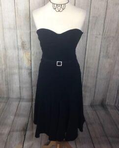 Beautiful Black KAREN MILLEN Diamante Buckle Strapless Dress Size 6-8