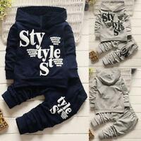 2PCS/Set Kids Infant Baby Boys Hooded Tops T-Shirt+Long Pants Tracksuit Clothes