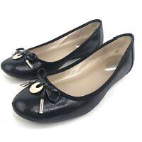 Alfani Step N Flex Womens Size 7.5 Pearl Black Round Ballet Flat Slip On Shoes