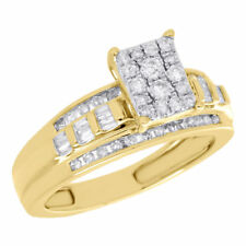 10K Yellow Gold Baguette Diamond Rectangle Style Ladies Engagement Ring 0.50 Ct.