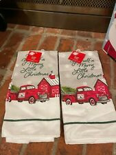 NWT SET OF 2  CHRISTMAS RED FARM TRUCK KITCHEN HAND OR DISH TOWELS DECOR