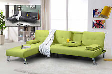 Modern Fabric Corner L Shaped 3 Seater Sofa Bed & 1 Seater Chaise Grey Green