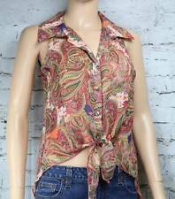 BODY CENTRAL top shirt Sleeveless sheer belly knot front paisley button S/M