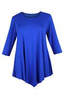 New Ladies Women Plus Size Three Quarter Sleeve Round Neck Tunic 3/4 Size dress