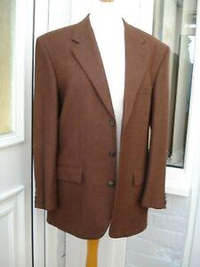 "M&S Brown Blazer Jacket Pure New Wool Aubergine 40"" Country Smart Single Breast"