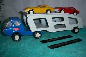 """Tonka Car Carrier Truck 1976 # 1290 With Cars & Ramps Complete Set 19 """" Long"""