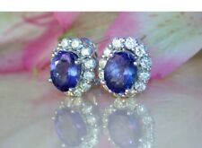 4.60Ct Oval Brilliant Cut Blue Sapphire Halo Stud Earrings 14K White Gold Finish