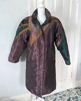 90s Purple Gold Floral Paisley Trim Shiny Long Jacket Coat Women's 6 Zip Front