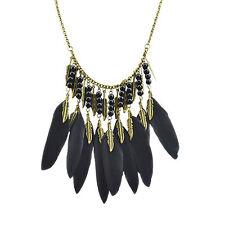 Retro Black Bohemian Long Feather Leaf Necklace Vintage Crystals Pendant Party