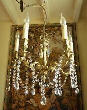 Heavy Vintage French Crystal Chandelier Rococo Brass Ceiling 5 Light Shabby Chic