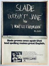 SLADE 1973 original POSTER ADVERT GUDBUY T' JANE Slayed