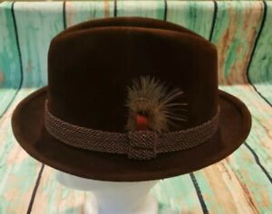 Vintage Brown Wool Felt Stetson The Sovereign Fedora mens Hat 7 1/8 Braided Band