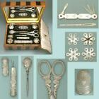 Complete Antique Mother of Pearl & Silver Palais Royal Sewing Set Circa 1820
