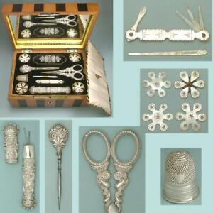 Complete Antique Mother of Pearl & Silver Palais Royal Sewing Set *Circa 1820