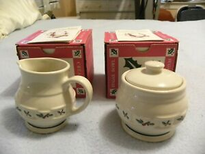Longaberger Pottery Christmas 1995 Traditional Holly Creamer And Sugar Bowl -New