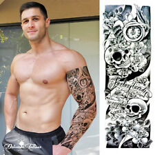 REALISTIC TEMPORARY TATTOO SLEEVE, SKULLS, ROSES, CLOCK, MENS, WOMENS, KIDS
