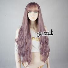 Thin Thin Bang Lolita Long Fashion Purple Pink Curly Heat Resistant Cosplay Wig