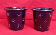 Pair Of Longaberger Pottery Blue Proudly American Votive Candle Holders